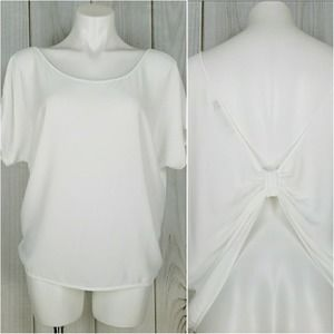 Etiquette Clothiers White Twist Knot Blouse